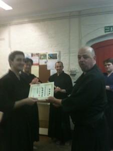 Nick receiving his certificate